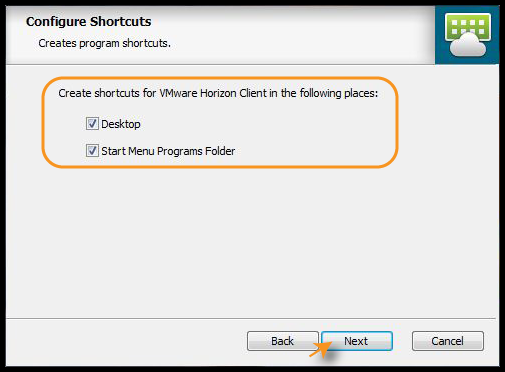 Configure Shortcuts screen with both Desktop  and Start Menu Programs Folder checked
