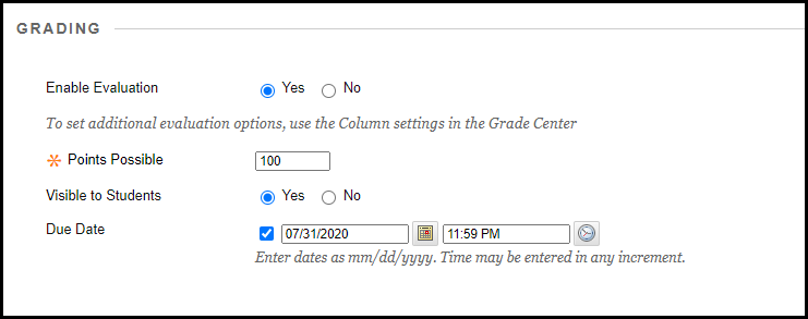 Screenshot showing the grading options for Knowmia videos.