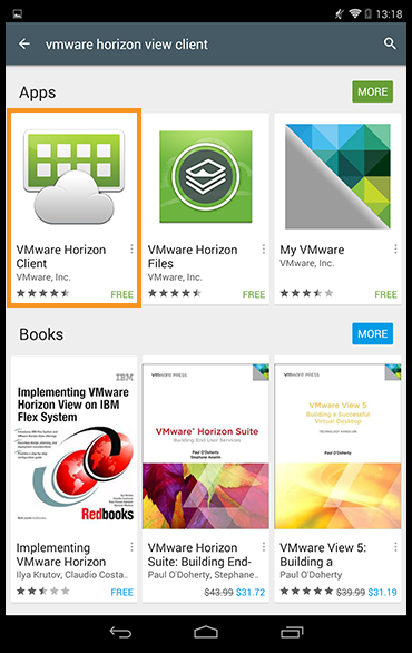 VMware Horizon Client app highlighted in the Google Play store