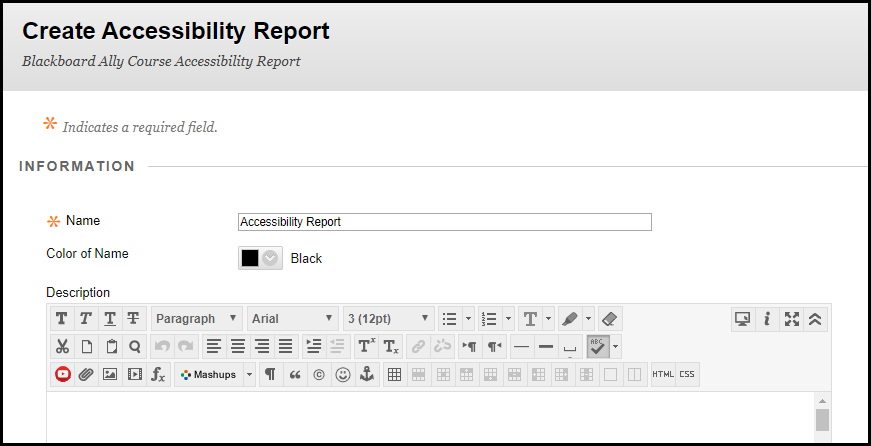Screenshot showing where to enter the name of the report.
