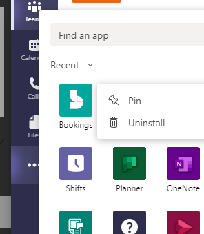 Screenshot of app sidebar in teams with pin option