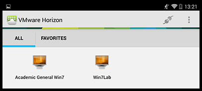 VMware desktop selection screen with Academic General Win7 and Win7Lab options.