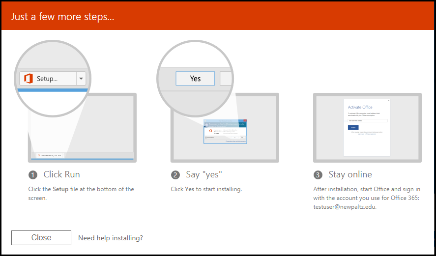 Image show the final three set-up steps: 1. Click the setup file; 2. Click Yes; 3. Stay Online