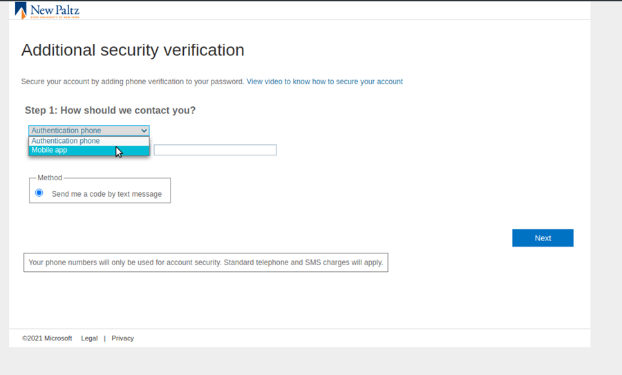 Screenshot of the prompt that asks what additional verification method should be used