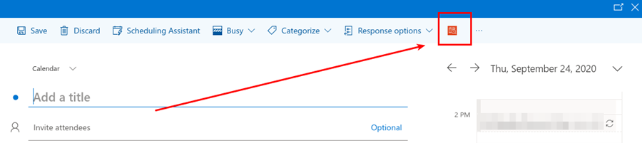 Screenshot of Outlook's web calendar with the FindTime button highlighted