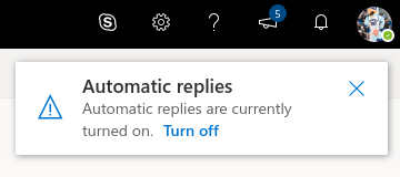 Automatic replies dialogue box with reminder that automatic replies are currently turned on