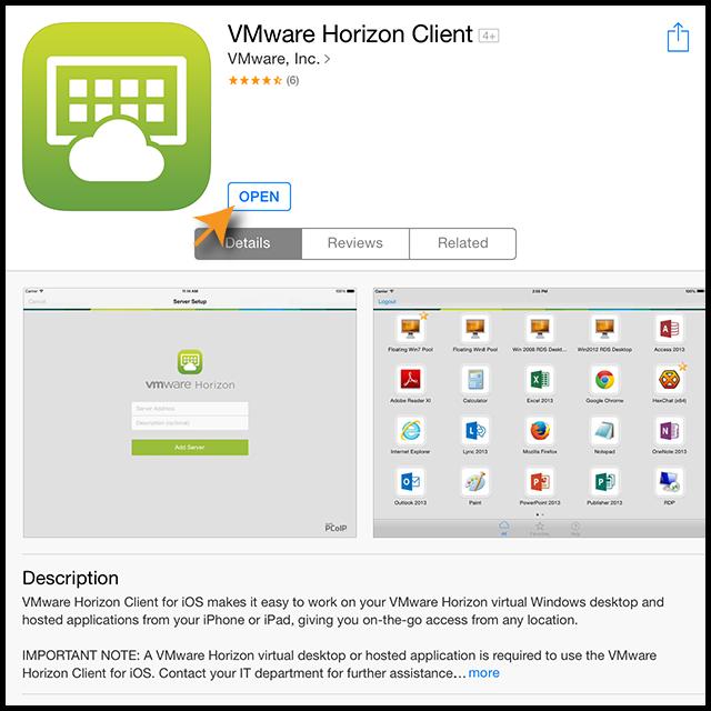 VMware open app screen