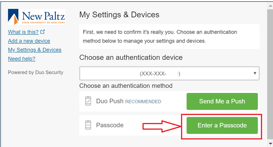 """Screenshot of Duo screen with """"Enter a Passcode"""" highlighted"""