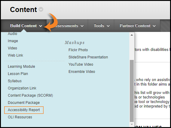Screenshot showing where to select the Build Content tab and the Accessibility Report option.