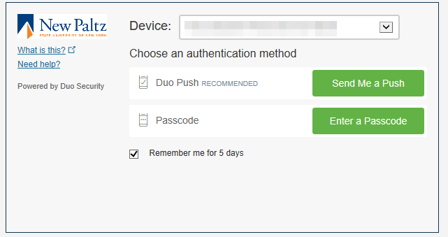 Screenshot of Duo login window for VPN