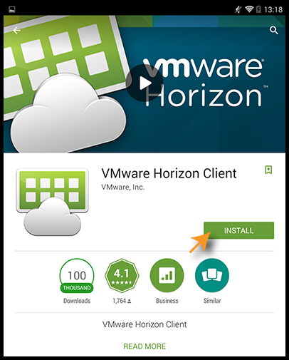 Install screen for VMware Horizon Client