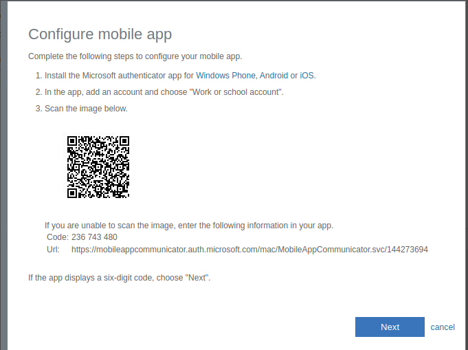 screenshot showing the 'configure mobile app' screen - with a qr code and links to download the app