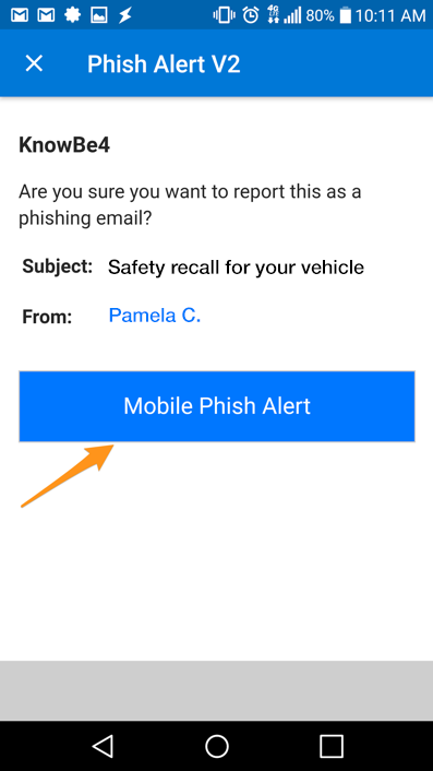 Screenshot of mobile confirmation window