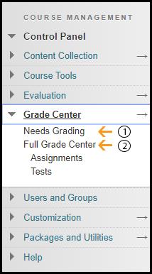 Grade Center Control Panel
