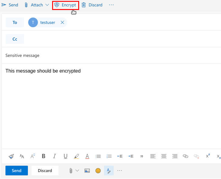 "Screenshot of email compose - with ""Encrypt"" button"