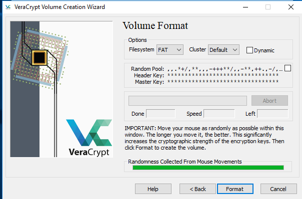 Screenshot of VeraCrypt - highlighting the Volume Format window