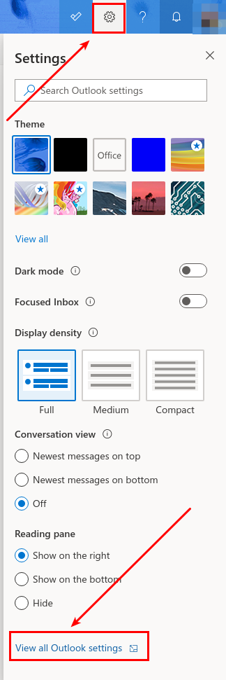 "Screenshot from Outlook Web Access with the gear icon for settings, and the ""View all Outlook settings"" buttons at the bottom highlighted"
