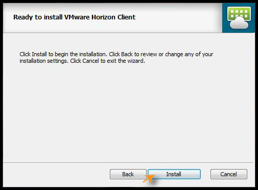 Ready to Install VMware Horizon Client screen