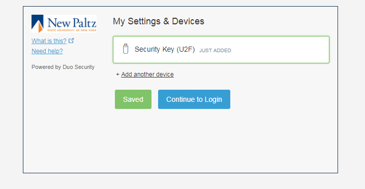 Security Key setup - screen 5 - continue to login button