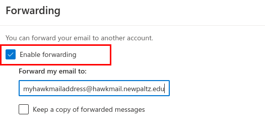 Screenshot of the forwarding settings window - with the Enable forwarding box shown