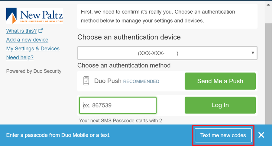 """Screenshot of Duo prompt with """"Text me new codes"""" highlighted"""