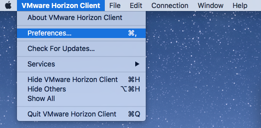 VMware Horizon Client menu with Preferences highlighted