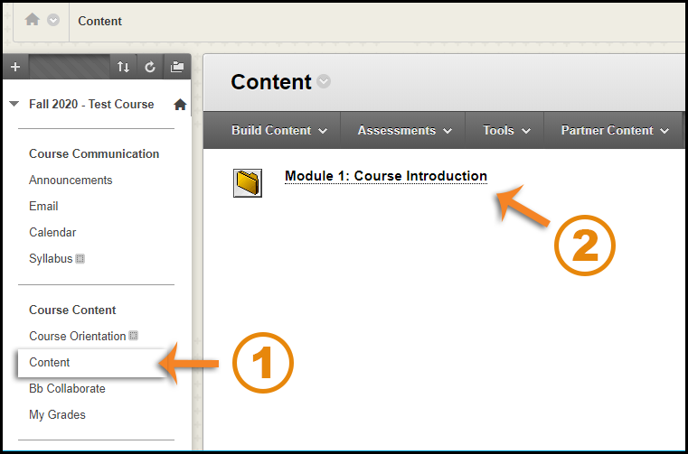 Screenshot showing the Content area and a module folder