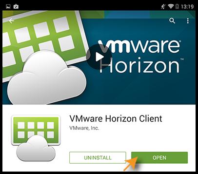 Opening VMware Horizon Client