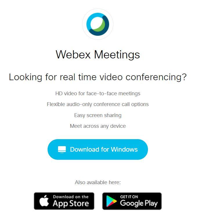 Webex Download Button