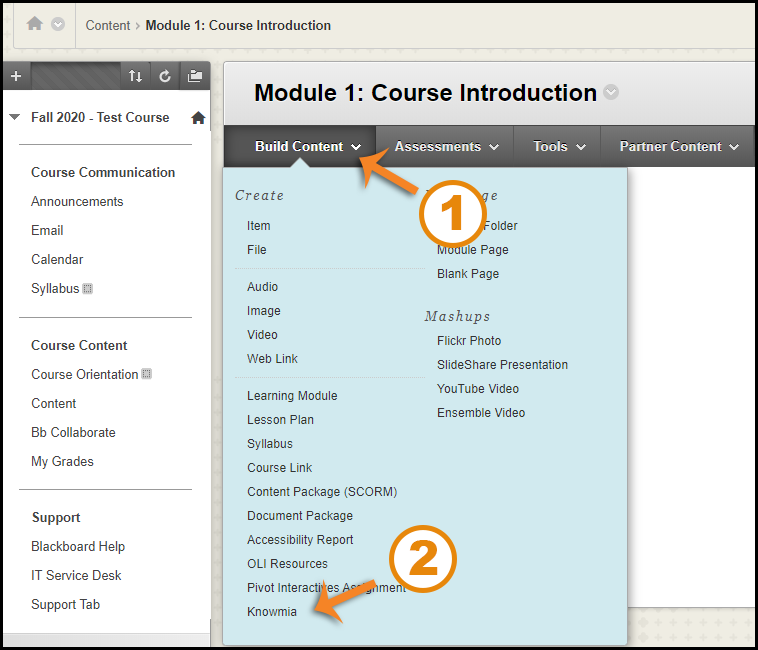 Screenshot showing the Build Content tab and option for Knowmia