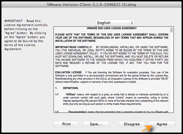 End-User License Agreement screen
