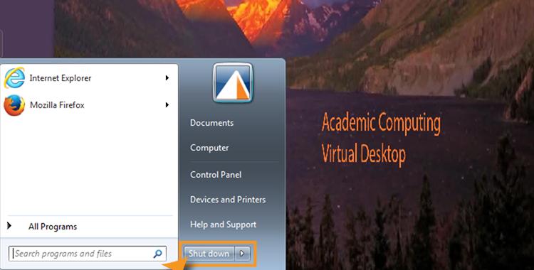 Start menu with shutdown button highlighted