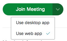 Join meeting using web app
