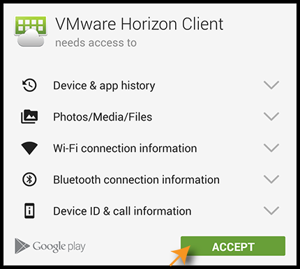 Permissions for VMware Horizon Client